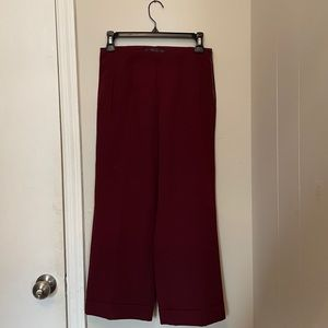 High Waisted Cropped Flared Pants Burgundy